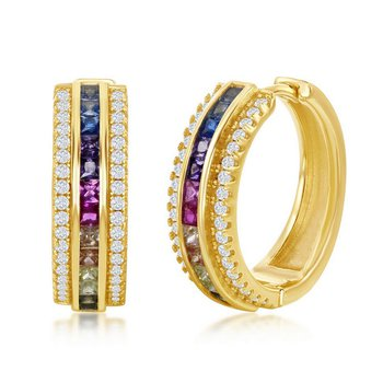 - Sterling Silver 14k Yellow Gold Plated Multi-Color Rainbow Square CZ and White Round CZ Hinged Hoop Earring Pair