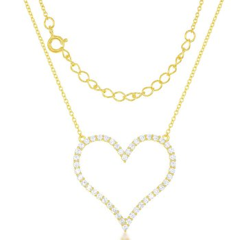 Sterling Silver Open Heart CZ Chain Necklace