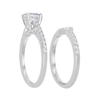 Sterling Silver 1.95ctw. White Topaz Round Gemstone Wedding Band and Engagement Ring Set