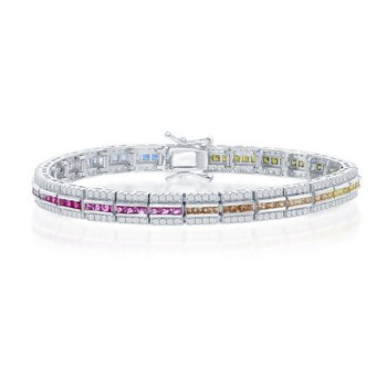 """- Sterling Silver Micro-Pave White CZ and Center Multi-Color Rainbow CZ Bracelet - 7.25"""""""