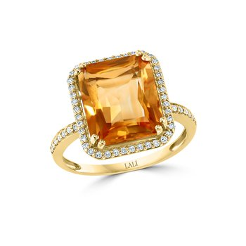 - 14k Yellow Gold 0.22Ctw. Diamond Halo and 5.30Ct. Citrine Gemstone Fancy Cocktail Ring