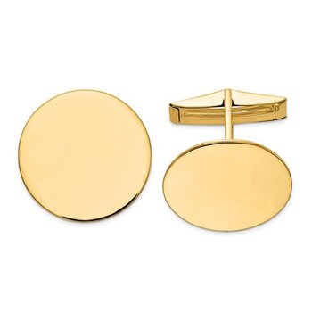 14k Yellow Solid Gold Polished 20mm Round Plain Engravable Personalized Men's Cuff Links
