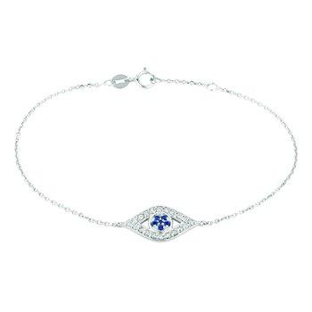 14K White Gold 0.25ctw. Diamond & 0.09ctw. Sapphire Eye Chain Bracelet