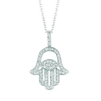 "14K White Gold 0.61ctw. Diamond Hamsa, Humes Hand, Hand of Fatima, Hand of Miriam Pendant 16"" Necklace"