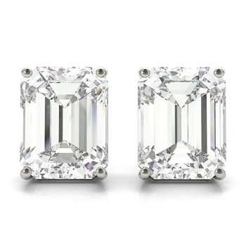Diamond Emerald Cut Stud Earrings Pair