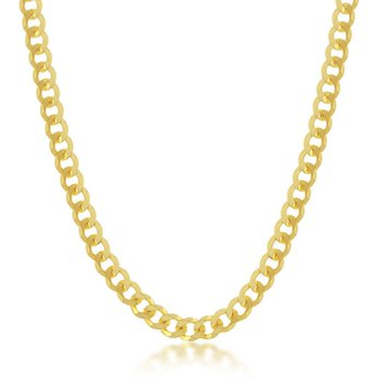 - Sterling Silver 4.5mm 14k Yellow Gold Plated Cuban Chain Necklace for Men