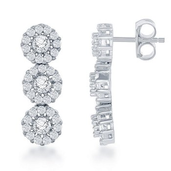 - Sterling Silver CZ Stones Halo Earring Pair
