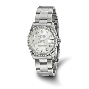 : Pre-Owned Independently Certified Rolex Midsize Datejust Steel/18k with Diamond Dial, Diamond Bezel, and Oyster Band