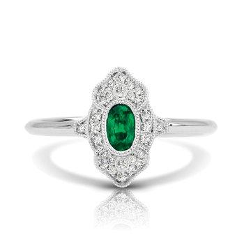 1/10ct. Diamond & 1/3ct. Emerald Gemstone 14k White Gold Vintage-Inspired Right Hand Ring