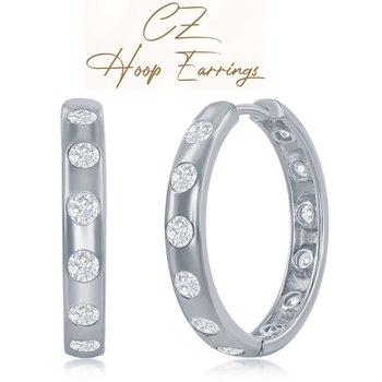Sterling Silver 4x25mm Round CZ Hinged Hoop Earrings