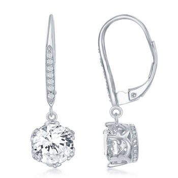 Sterling Silver 8mm CZ Accented Dangle/Drop Leverback Earring Pair