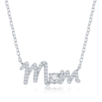 Sterling Silver CZ Mom Necklace