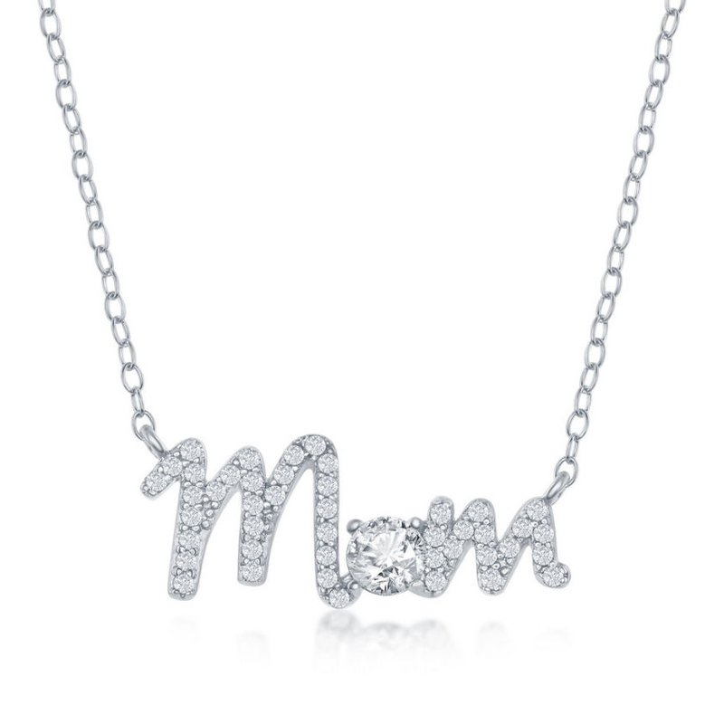 Fashion Jewelry Collection Sterling Silver CZ Mom Necklace