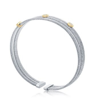 - Italian Collection CZ Stones Sterling Silver w/14k Gold Plated Rounds Triple Wire Bangle Cuff Bracelet