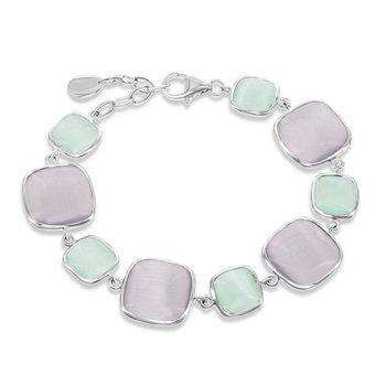 """- Simona Sterling Silver Alternating Light Green and Gray Square Cat's Eye Bracelet - 7"""""""