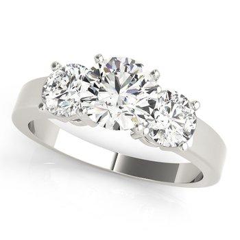 - Round 3-Stone Diamond Engagement Ring