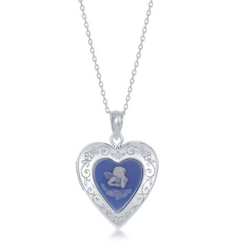 Sterling Silver Blue Stone Angel Cameo Heart Locket Pendant Chain Necklace
