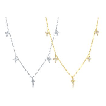 Sterling Silver Dangling CZ Cross Station Chain Necklace