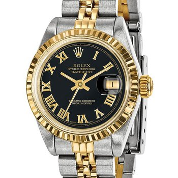 : Pre-Owned Independently Certified Rolex Ladies Datejust Two-Tone Steel/18ky with Black Roman Numerals Dial, and Jubilee Band