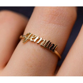 Zodiac Birth Sign Horoscope Constellation Adjustable Rings