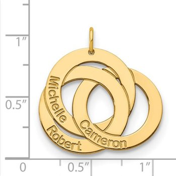 14k Gold 3-Ring Interlocking Circle Personalized with Names Charm Pendant