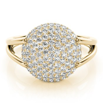 - 0.50ctw. Diamond Pave Cluster Round Shaped Ring