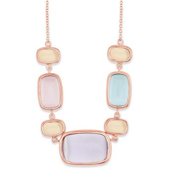 "- Simona Sterling Silver 14k Rose Gold Plated Light Violet, Champagne, Pink, and Light Blue Rectangle Cat's Eye Neckalce - 16"""