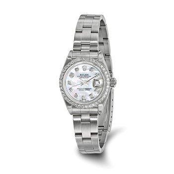 : Pre-Owned Independently Certified Rolex Ladies Datejust Two-Tone Steel/18k with Diamond Mother-of-Pearl Dial, Diamond Bezel, and Oyster Band