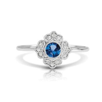 - 1/20ct. Diamond & 1/4ct. Blue Sapphire Round Gemstone 14k Gold Vintage-Inspired Right Hand Ring