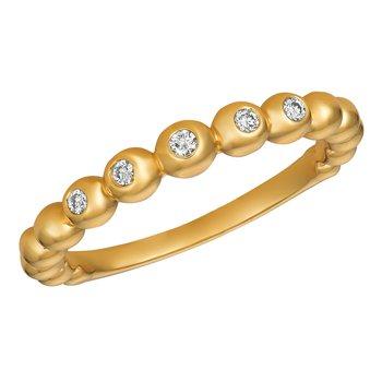 14k Gold 0.10ctw. Diamond 5-Stone Bezel-Set Beaded Band Ring