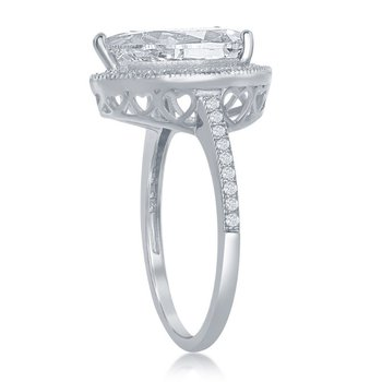 Sterling Silver Pear and Round CZ Halo Accented Engagement Ring