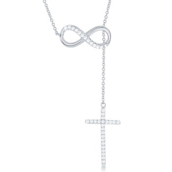 Sterling Silver Half CZ Infinity with Hanging CZ Cross Lariat Chain Necklace