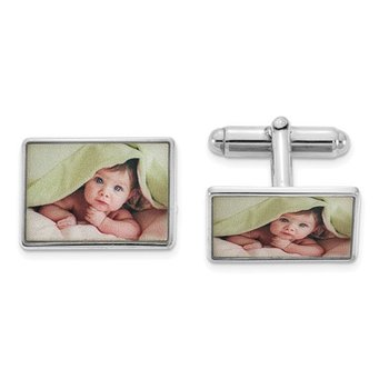 Sterling Silver 18x14mm Rectangle Picture Image Personalized Cuff Links