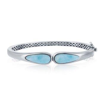- Caribbean Treasures Sterling Silver Double Teardrop Larimar Gemstones Bangle Bracelet