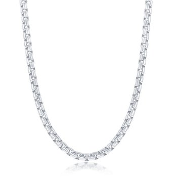 Sterling Silver 3.5mm Round Box Chain Necklace for Men