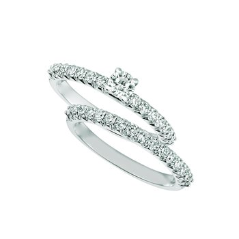 14K White Gold 1.00ctw. Diamond Solitaire Accented Engagement Wedding Ring Set