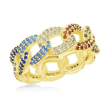 - Sterling Silver 14k Yellow Gold Plated Multi-Color Rainbow Link Ring Band