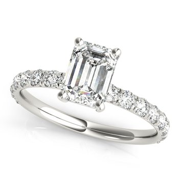 Emerald-Shaped Diamond Accented Engagement Ring