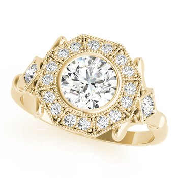 Round Diamond Accented Halo Vintage Inspired Engagement Ring