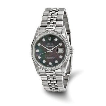 : Pre-Owned Independently Certified Rolex Gents Datejust Two-Tone Steel/18k with Diamond Black Mother-of-Pearl Dial, Diamond Bezel, and Jubilee Band