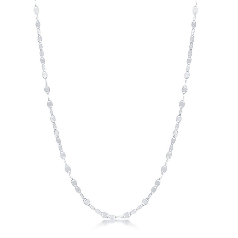 Fashion Jewelry Collection Sterling Silver Flat Mirror Oval Discs Chain Necklace