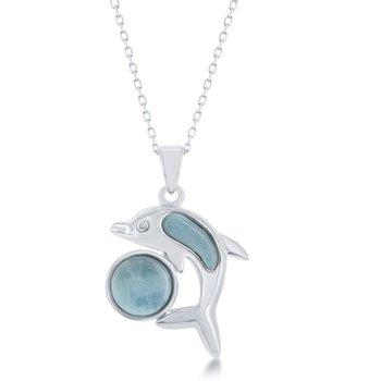 - Caribbean Treasures Sterling Silver Larimar Gemstones Playing Dolphin Pendant