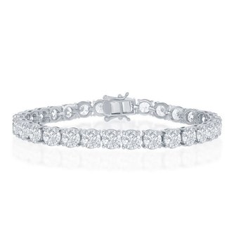 - Sterling Silver 6mm Prong-Set Round CZ Stones Tennis Bracelet - 7.50""