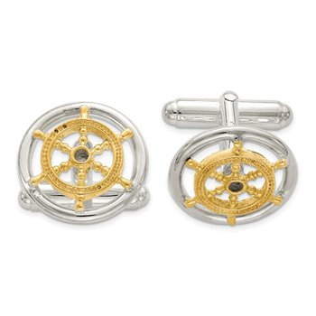 Sterling Silver Vermeil 16mm Sailor Wheel Made in Italy Men's Cuff Links