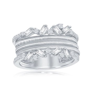 - Italian Collection CZ Baguette and Round Stones Platinum Bonded Sterling Silver Ring Band