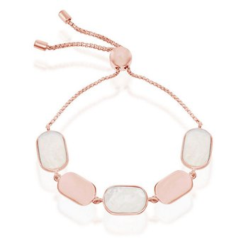 - Simona Sterling Silver 14k Rose Gold Plated Alternating Polished Plate and Mother-of-Pearl Adjustable Bolo Bracelet