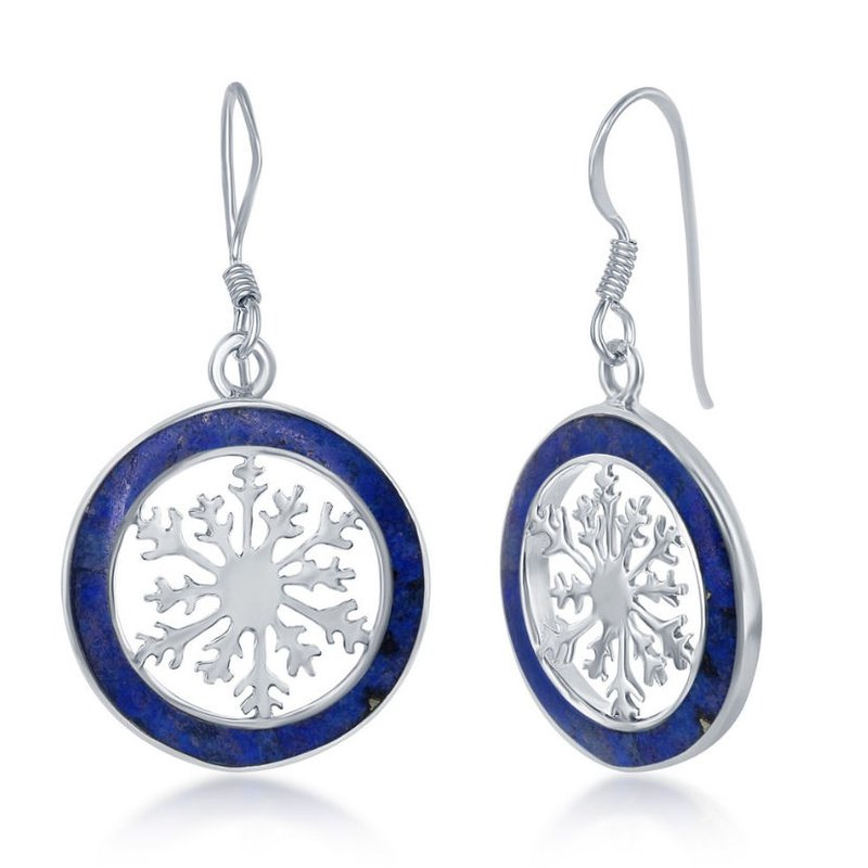 Fashion Jewelry Collection  - Sterling Silver Lapis Snowflake Round French Wire Earrings Pair