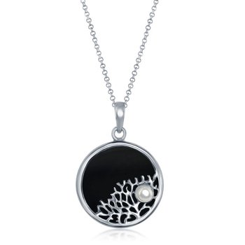 - Sterling Silver Onyx with Tree Branch with Small Pearl Round Pendant with Chain