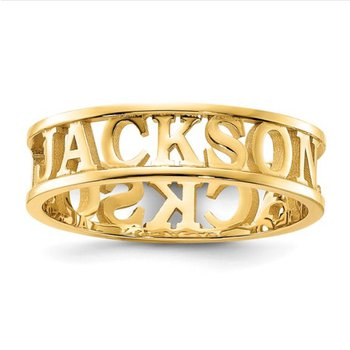 14k Gold Casted High Polish Personalized 5mm Name Band Ring