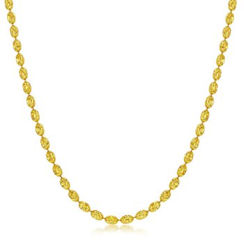 - Sterling Silver 14k Yellow Gold Plated 3mm Oval Moon-Cut Chain Necklace